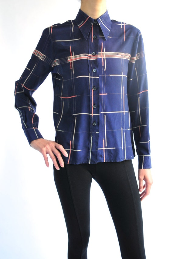 1970's Pierre Cardin geometric motif simple shirt