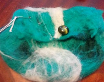 Aqua green and white felted purse