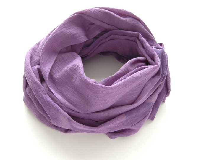 Purple Scarf - Hand Dyed Cotton Shibori - 25 x 68 inches - Amethyst