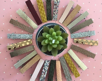 leather hair clips