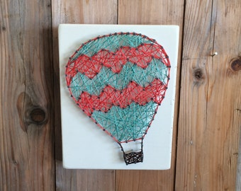 Hot Air Balloon Nursery, Hot Air Balloon String Art, Hot Air Balloon Decor, String Art, Hot Air Balloon, Nursery Decor, Girls Room Decor