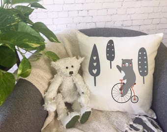 bear riding bicycle children's throw pillow/nursery throw pillow / baby shower gift/ kid's room