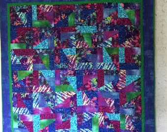 Vibrant Green/Purple/Blue Quilt, Quilts for Sale,  Handmade Quilts, Quilts for Gifts, Mothers Day Quilts