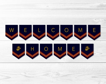 Welcome Home Marine Corps Banner -- Welcome Home Banner, Military, USMC, Semper Fi, Patriotic, Homecoming Party, Printable, Instant Download