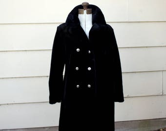 SALE- Black Faux Fur Coat - Gold Lined - 1960's style double breasted