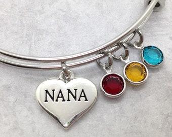 Nana Birthstone Bracelet, Mothers Day Gift, Nana Jewelry, Grandma Gift, Nana Gift, Nana Charm Bangle