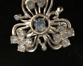 Aquamarine/ Sterling Silver Antique Brooch