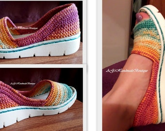 Handmade crochet shoes, sandals, sneakers