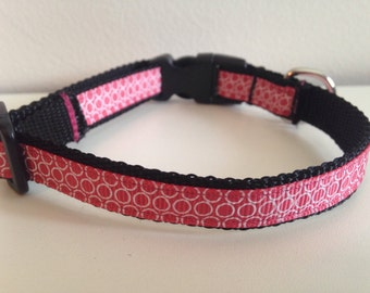 Pink with White Circles 1/2 Inch Dog Collar