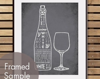 White Wine and Glass - Art Print (Featured in Charcoal) (Top Shelf Alcohol Series) Buy 3 Get One Free
