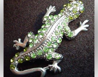 Gecko Lizard 1990s Rhinestone Brooch Pin