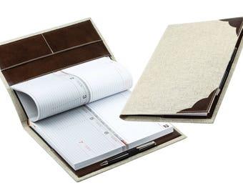 Design calendar book A4 in a linen/leather combination