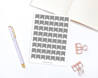 Grey Flags planner stickers - 56 planner stickers, banner matte stickers, bunting banner stickers, flag stickers, cute sticker