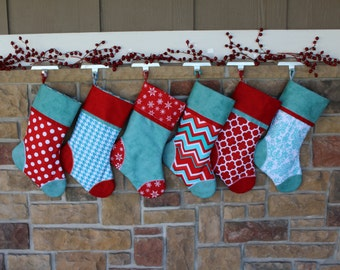 Personalized Christmas Stocking w/ Embroidered Tag. Snowflakes, Best Quality, Plush, Aqua and Red. Gift Idea. Christmas Stockings Matching