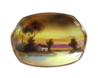 1930's Hand Painted Noritake Bowl Country Cottage Pastoral Scene Two Oblong with Handles