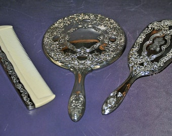 Silverplated  Dresser Set - Ornate Mirror, Brush and Comb