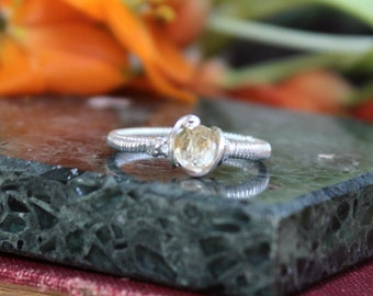 Sterling Silver Citrine Facet Size 8 Wire Wrap Solitaire Ring