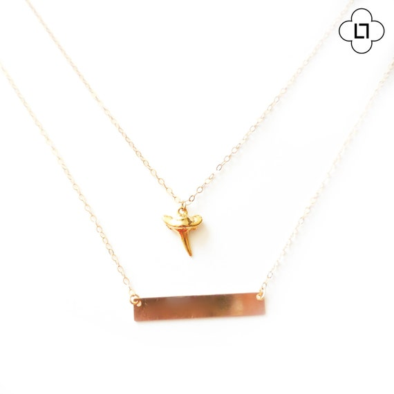 Gold Nautical Shark Tooth Layer Necklace