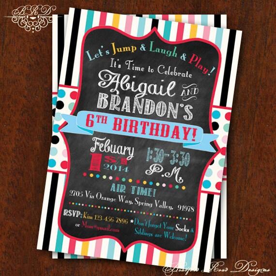 Birthday Party Invitation Jump House Party Bounce House