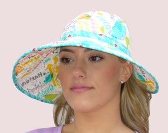 SEWING PATTERN: Wide Brim Floppy Sun Hat in Cotton with Adjustable Back Ties, Folds Flat for Travel