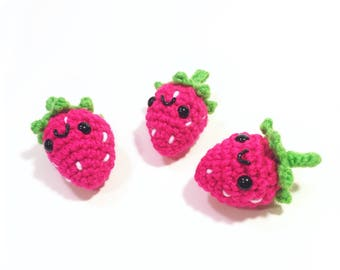 READY TO SHIP - Strawberry Plush - Amigurumi Stawberry - Small Fruit Toy - Stuffed Strawberry - Hands On Learning