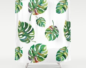 Palm Leaves Shower Curtain Green and White Shower Curtain Tropical Botanical Print Watercolor Palms Bold Palm Leaf Fabric Bold Bathroom