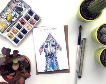 Single A6 hairy lurcher dog birthday card, Birthday card, dog card, lurcher card, dog gift, lurcher gift, dog present, sighthound card,