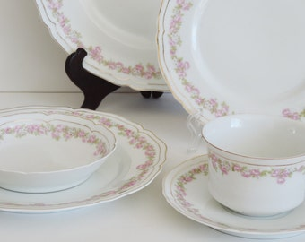 Shabby Rose China, Vienna Austria, 6 Piece Place Setting