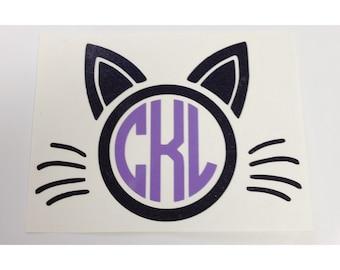 Cat Monogram Decal | Yeti Cup Decal | Tumbler Decal | Car Decal | Laptop Decal | Custom Decal | Vinyl Decal | Cat Lover | Cat Lady