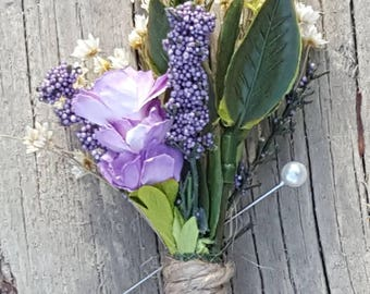 Lavender Boutonniere,  Groomsmen Lapel Corsage, Wedding Accessories,  Rustic Wedding Accessories,  Mens Boutonnieres,  Groomsmen Gifts