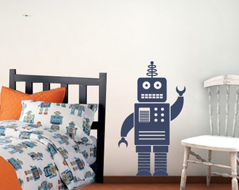 Robot Wall Decal - Boy Nursery Vinyl Decal - 3 feet tall
