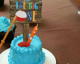 Gone Fishing Birthday Cake Topper // Smash Cake Topper // Double Sided - Printed