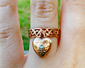 Antique Late Victorian 9ct 9k Rose Gold Puffed Heart Seed Pearl Dangle Knot Ring, Antique Sentimental Jewelry
