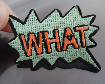 WHAT Letter Patches - Iron on or Sewing on Patch WHAT Patches Green Orange Patch Embellishments Embroidery fonts