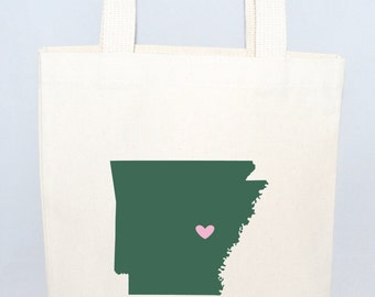 Set of 6 Arkansas Custom Wedding Welcome Totes, Wedding Welcome Favors, Canvas Wedding Bags, State Tote Bags, Custom Totes
