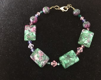 Ruby in zoisite and Swarovski crystals bracelet