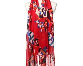 Womens Scarf, Red Scarf, Floral Print Scarf, Fashion Scarf, Chiffon Scarf, Cotton Scarf