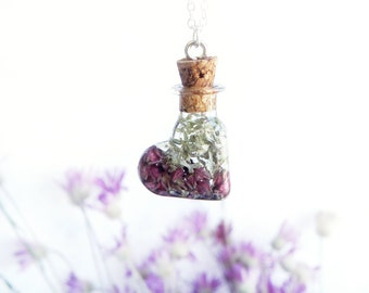 Heart pendant Sterling silver chain Lichen jewelry terrarium necklace Heather flower necklace Botanical jewelry Boho necklace Woodland style