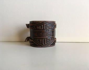 Pattern embossed leather cuff or Bracelet: biker