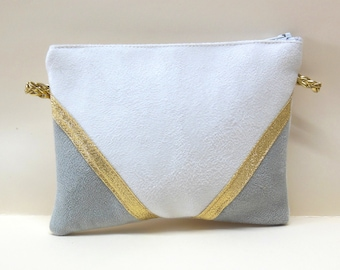 Clutch evening bag in suede ecru and grey, Golden graphic lines - wallet, make-up - after the beach
