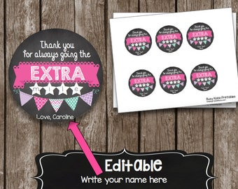 50% OFF SALE Teacher Appreciation - Extra Mile - Printable Card - Editable - Instant Download - Gift Card Holder