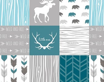 Boy Crib Bedding, Gray Grey Blue Teal, Baby Boy Quilt, Minky Baby Blanket, Patchwork Baby Quilt, Woodland Baby Quilt, Moose Little One
