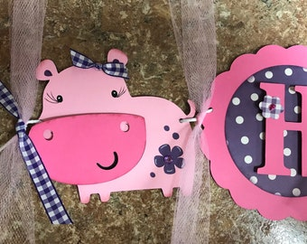 Purple and Pink Hippo Birthday Banner, happy Birthday banner