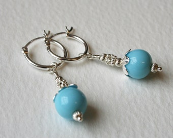 Silver Hoop Dangle Earrings Duck Egg Blue Vintage Glass Bead