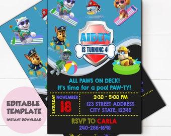 Instant Download-Paw Patrol Invitation,Paw Patrol Birthday,Paw Patrol Birthday Invitation,Paw Patrol Party,Paw Patrol Editable invitation