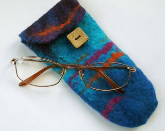 Wet Felted  Spectacle / Smart Phone Case in Blue Shades