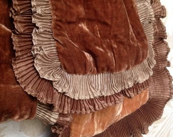 Camel Brown Velvet Ruffle Scarf Earthy Wrap Shawl Soft