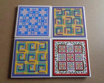 4 Quilt Pattern  Vintage  Focal Tiles for Mosaics