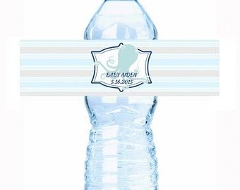 """20 Nautical Themed Baby Shower Water Bottle Labels - Select the quantity you need below in the """"Pricing & Quantity"""" option tab"""