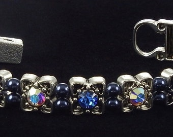 Crystal and Sapphire Bracelet with Swarovski Crystals and Magnetic Clasp